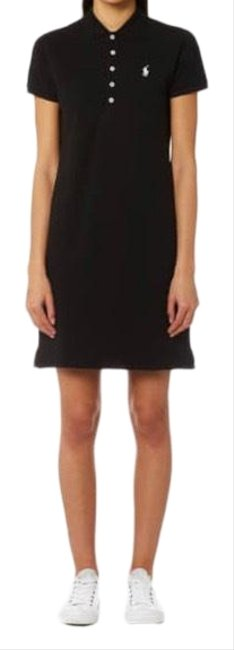 Item - Navy Cotton Mesh Polo Mid-length Short Casual Dress Size 4 (S)