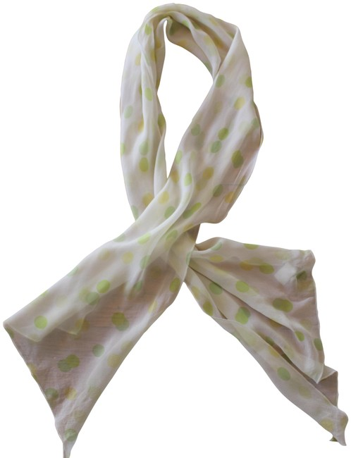 Item - Cream Yellow Green Polka Dot Beige Colorful Silk Scarf/Wrap