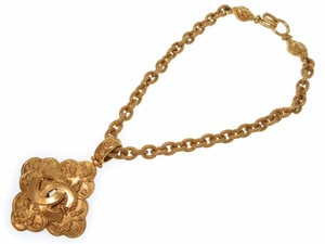 Chanel Chanel Coco Mark Necklace Choker Vintage Gold Chain 0054 CHANEL