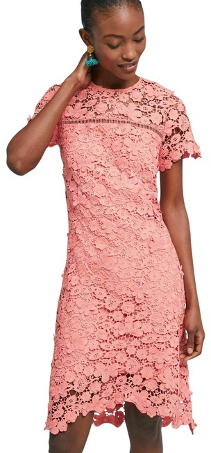 Item - New Pink Coral Anthropologie Laced Dahlia Asymemetrical Short Formal Dress Size 2 (XS)
