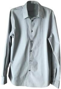 Express Men's Large Cotton/Spandex Machine Wash Fitted Extra Buttons Button Down Shirt Dark Grey
