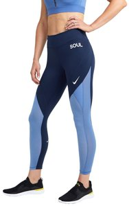 SoulCycle Nike Epic Lux 7/8 Mesh Tight, Obsidian/Indigo Storm, Reflective