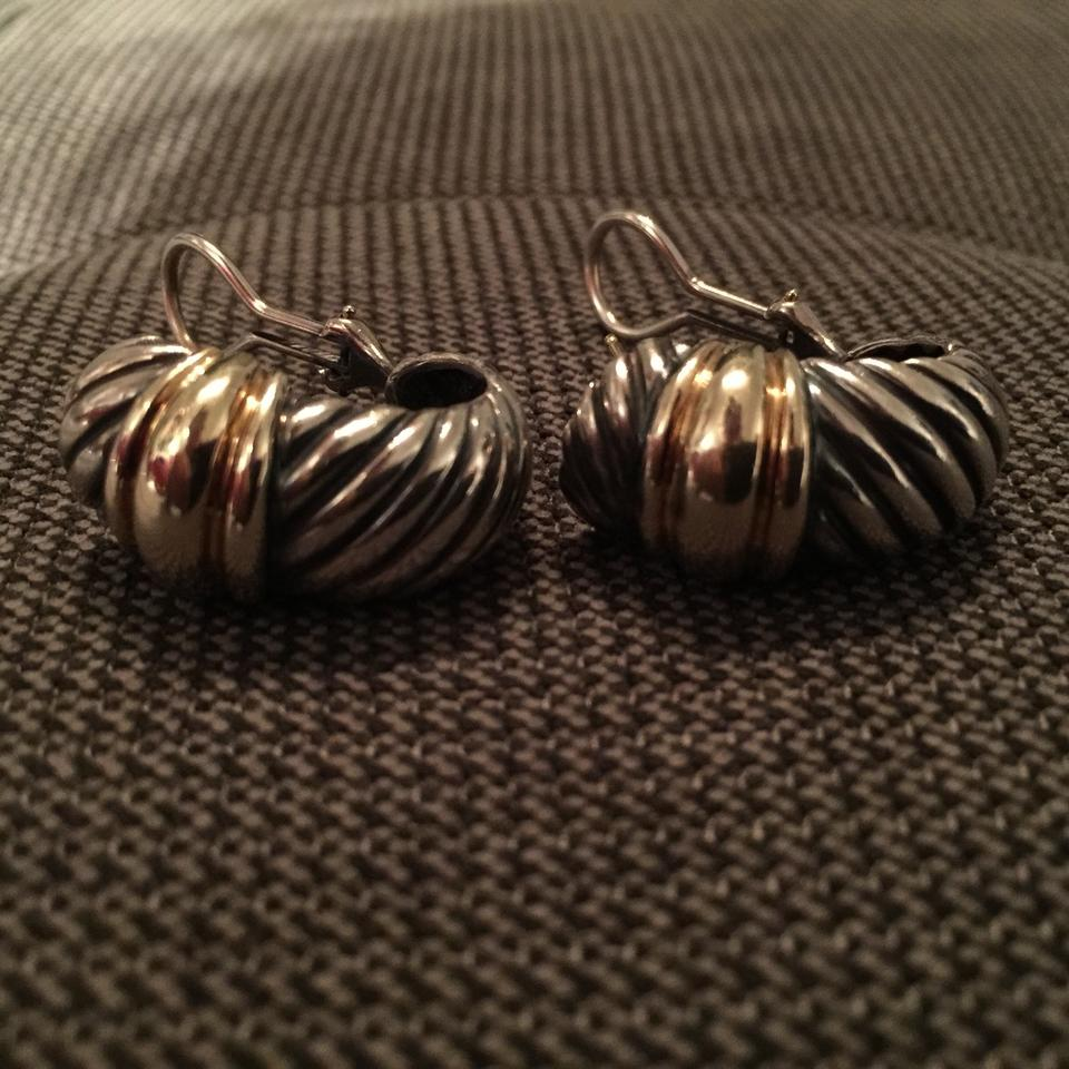 1285dab723dcb David Yurman Silver and Gold Cable Classics Shrimp Earrings 55% off retail