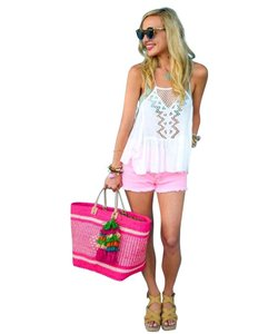 Mar Y Sol Ibiza Straw Woven Tote in Pink