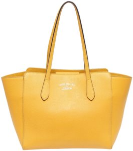 Gucci Wing Pebbled Leather Gold Leather Tote in Yellow