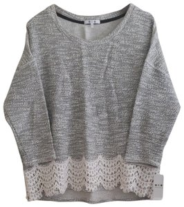 Three Dots Boulce Lace Pullover High-rise 3/4 Sleeve Top Gray