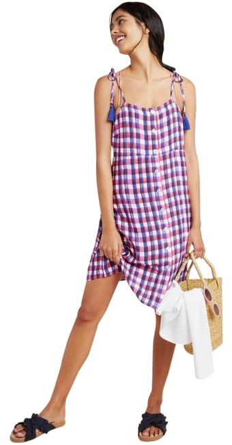 Item - New Pink and Blue Checked Shoulder Tie Button Front Dress Cover-up/Sarong Size 6 (S)