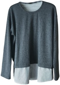 Fever Pullover Striped Shirttail Exposed Zippers Long Sleeves Round Neckline Tunic