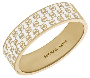 Michael Kors Hinge Bangle Bracelet White Monogram Gold Tone Steel MKJ3452