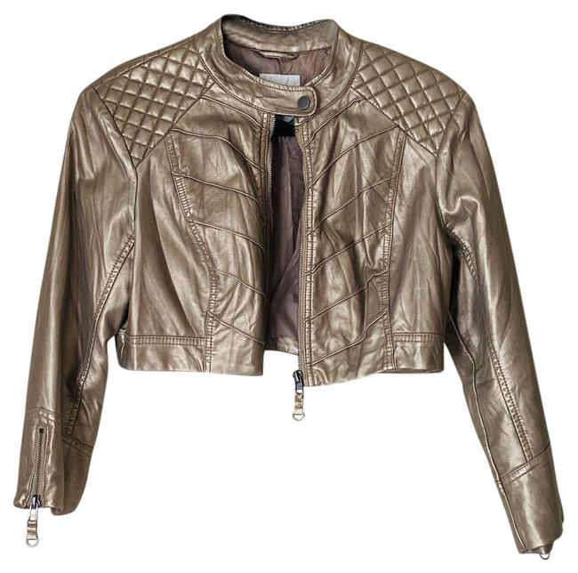 Item - Muted Gold Cropped Moto/Racer Jacket Size 4 (S)
