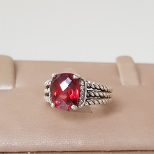David Yurman David Yurman Wheaton Petite Garnet Diamond Ring