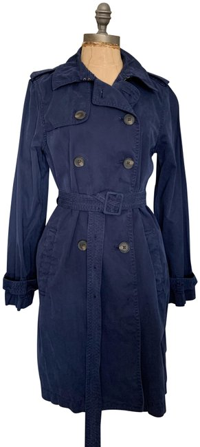 Item - Navy Pre-owned Washed Cotton 8p E8252 Coat Size Petite 8 (M)