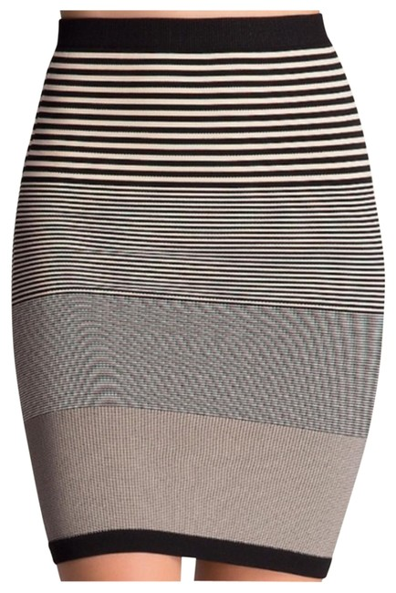 Item - Black White Spandex Bodycon Striped Pencil Skirt P/S Mid-length Night Out Dress Size 4 (S)