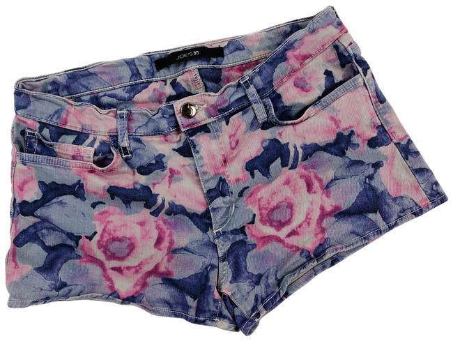 Item - Tainted Rosewater Blue Floral Print Denim Shorts Size 8 (M, 29, 30)