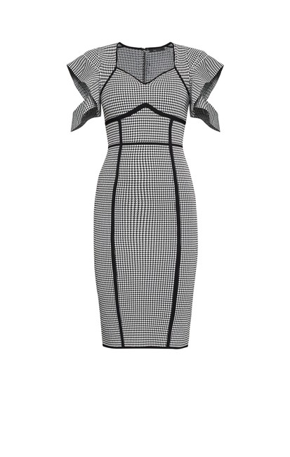 Item - Checkered Black White Houndstooth Jacquard Sheath Mid-length Cocktail Dress Size 4 (S)