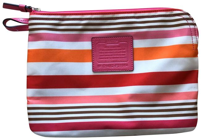 Item - Nwot Striped Make-up Tote with Zipper Red Orange Pink White Clutch