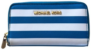 Michael Kors Like New Striped Wallet Blue and White Wallet