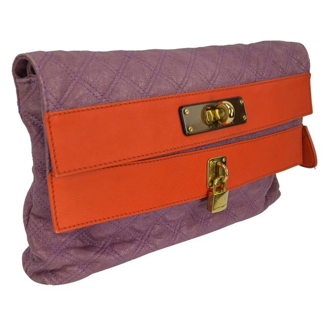 Item - Double Flap Quilted Foldover Purple Orange Leather Clutch