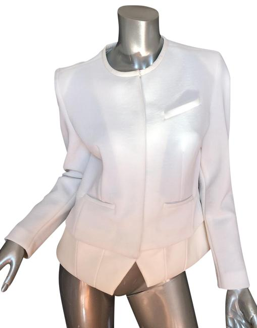 Item - White White/Cream Lambskin Leather Accents Jacket Size 4 (S)