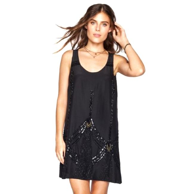 4 Love and Liberty Black Brianne Beaded Short Cocktail Dress Size 8 (M) 4 Love and Liberty Black Brianne Beaded Short Cocktail Dress Size 8 (M) Image 1