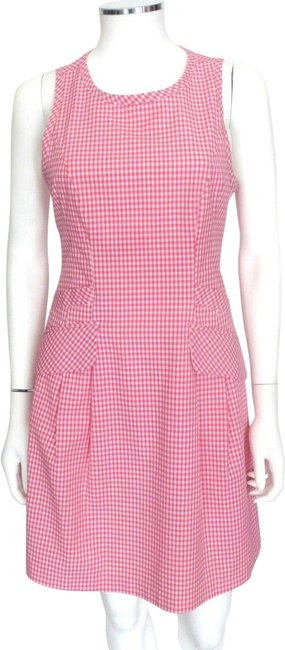 Item - Pink/White Pink/White Check Pattern-pockets Eu 40 Mid-length Short Casual Dress Size 4 (S)