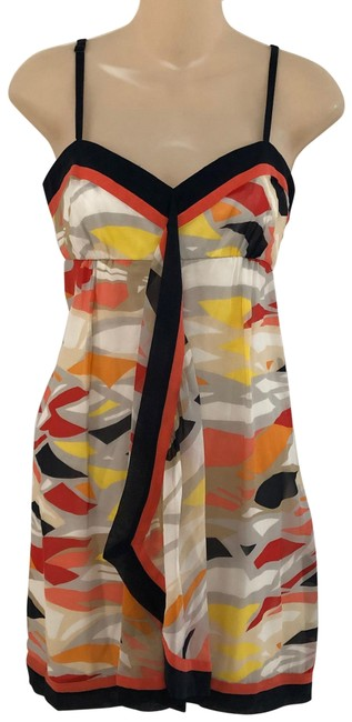 Item - Multicolor Cascading Silk Short Casual Dress Size 6 (S)