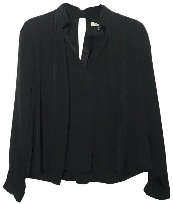 Item - Black V Neck Double Collar Blouse Size 4 (S)