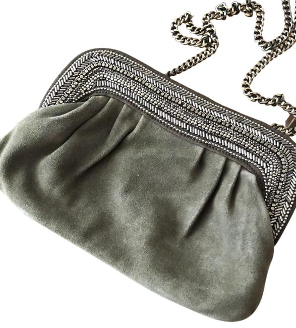 Item - Beaded Olive Green Suede Leather Clutch