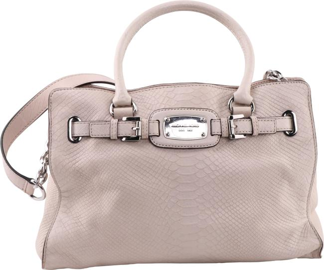 Item - Snake Embossed White Leather Tote