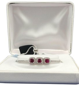 fine jewelry Sterling Silver 3-Stone Created Ruby & White Sapphire Bracelet $250