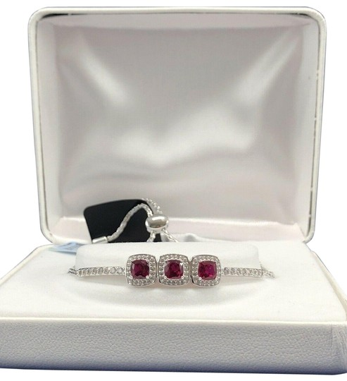Preload https://img-static.tradesy.com/item/27253047/sterling-silver-ruby-3-stone-created-and-white-sapphire-bracelet-0-1-540-540.jpg