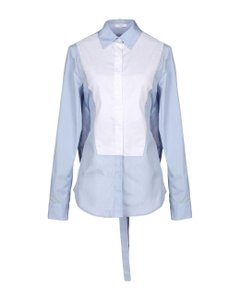 Tome Cotton Tie Backless Button Down Shirt blue