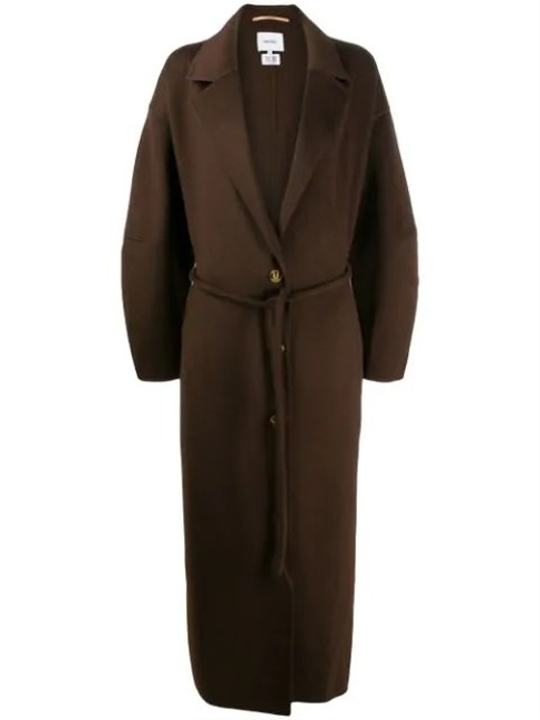 Item - Brown Loane Oversized Belted Wool and Silk-blend In Coat Size 4 (S)
