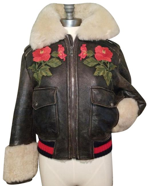Item - Brown Loved Rose Floral Patch Sherpa Shearling Distressed Bomber Flight Jacket Size 8 (M)
