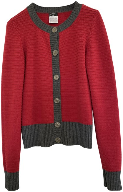 Item - Red Knit Cashmere Cardigan Size 4 (S)