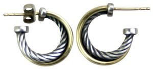 David Yurman Sterling Silver and 18K Yellow Gold Small Crossover Hoops