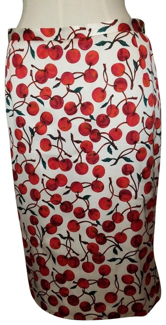 Item - Cream Cherries Cherry Rockabilly Pinup Pencil Wiggle Skirt Size 8 (M, 29, 30)