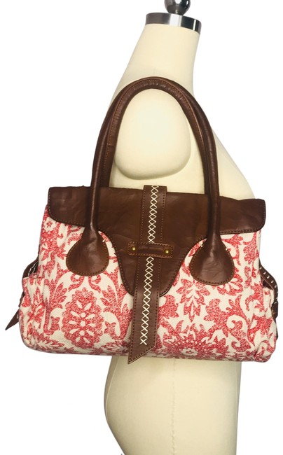 Item - Upholstery Purse Red Cream Fabric Shoulder Bag