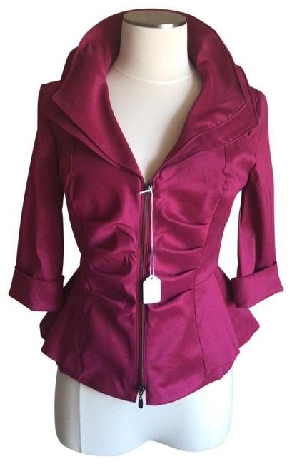 Item - Maroon Double Ruffle Collar 3/4 Sleeve Jacket Size 6 (S)