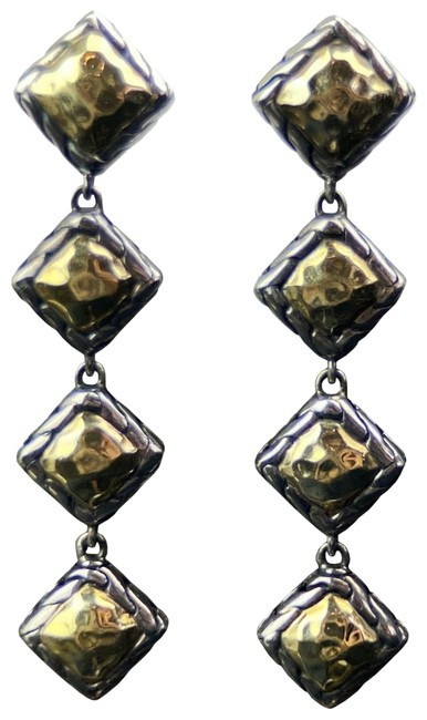 Item - Sterling Silver and 22k Gold Parlu Square Drop Earrings