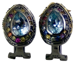 M.C.L by Matthew Campbell Laurenza Sterling Silver, Topaz, and Multicolor Sapphire Ear Clips