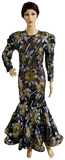 Item - Black. Gold. Silver 1980's and Ball Gown Long Formal Dress Size 4 (S)