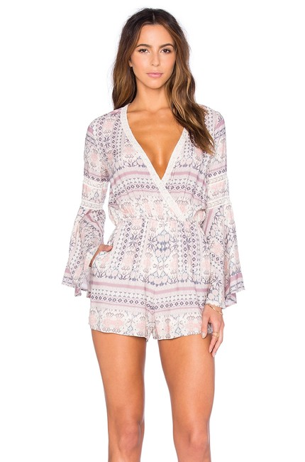 Item - Cream L Nwot Lovestruck Printed Bell Sleeve Multi Romper/Jumpsuit