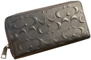 Coach F58113 Embossed Signature Logo Durable Leather Long Wallet