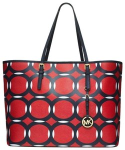 Michael Kors Mk Travel Jet Set Large Mk Large Travel Tote in Red Navy White /Gold hardware