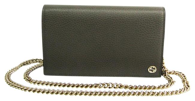 Item - Gray Double G 466506 Women's Calfskin Chain/Shoulder Wallet