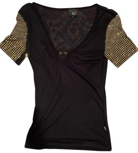 Just Cavalli Roberto Studded Sheer Top Black, Gold