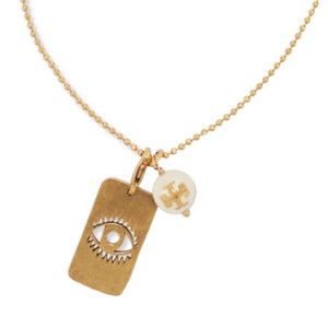 Tory Burch TORY BURCH * Evil Eye Dog Tag Pearl Necklace