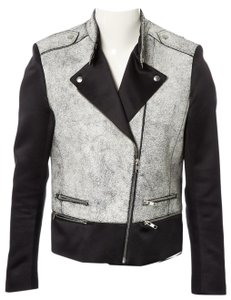 Sandro Leather Biker Zip Satin Motorcycle Jacket