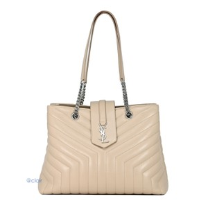 Saint Laurent Monogram Leather Quilted Tote in Nude Powder